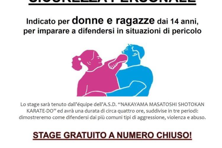 Stage gratuito di difesa personale a Tarcento