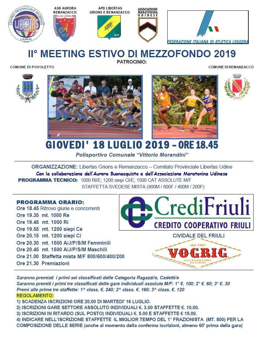II Meeting Estivo di Mezzofondo 2019