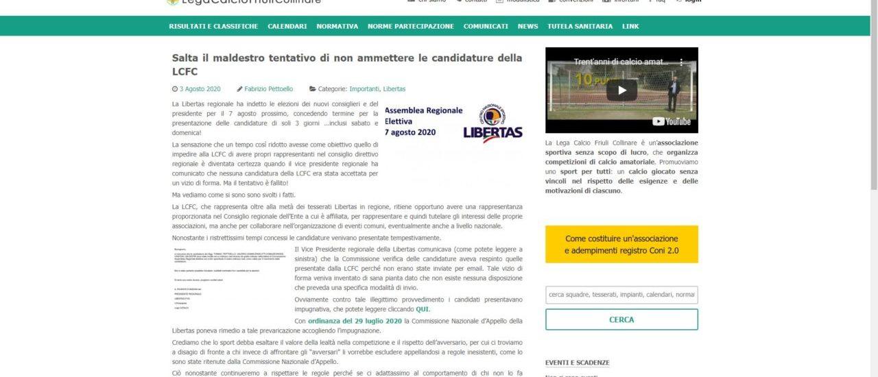 Libertas denigrata dalla LCFC: accuse e calunnie senza fondamento